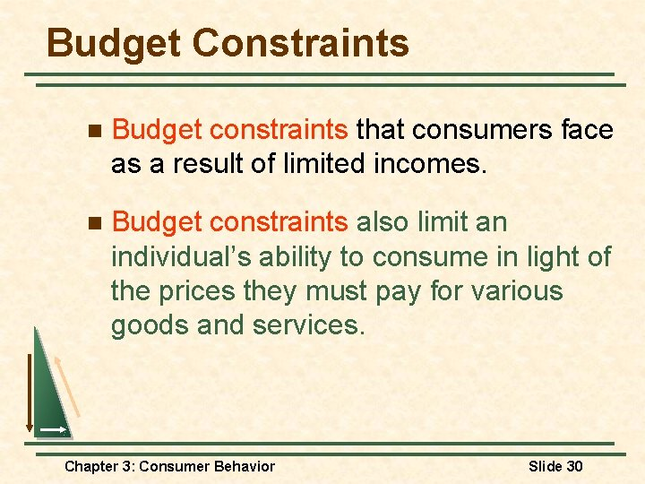 Budget Constraints n Budget constraints that consumers face as a result of limited incomes.