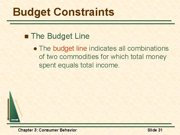 Budget Constraints n The Budget Line l The budget line indicates all combinations of