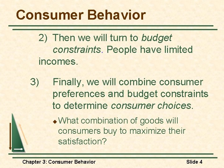 Consumer Behavior 2) Then we will turn to budget constraints. People have limited incomes.