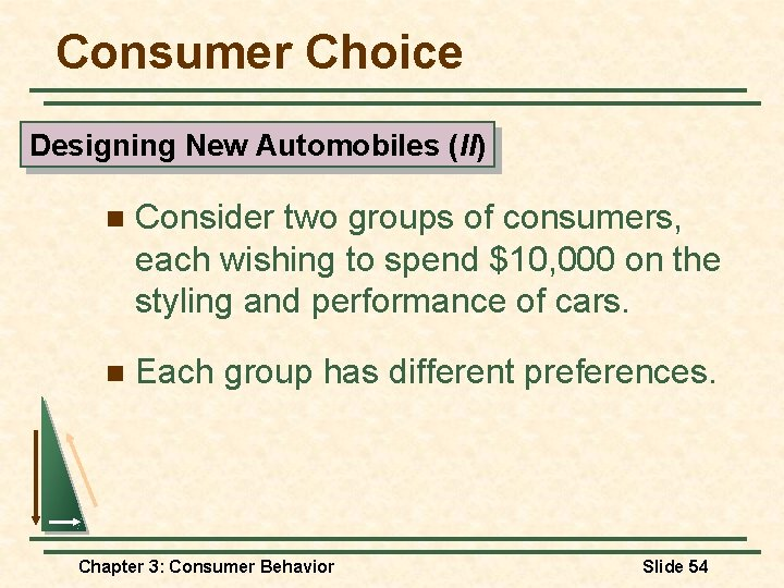 Consumer Choice Designing New Automobiles (II) n Consider two groups of consumers, each wishing