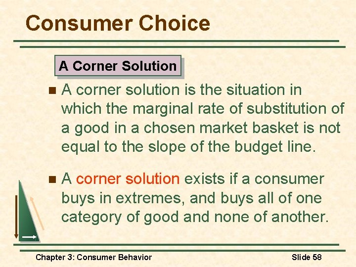 Consumer Choice A Corner Solution n A corner solution is the situation in which