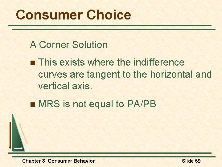 Consumer Choice A Corner Solution n This exists where the indifference curves are tangent