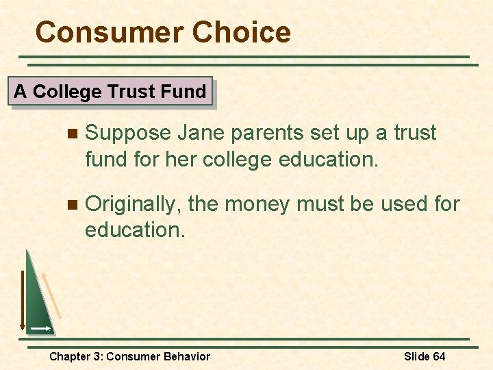 Consumer Choice A College Trust Fund n Suppose Jane parents set up a trust