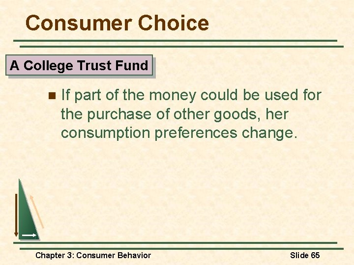 Consumer Choice A College Trust Fund n If part of the money could be