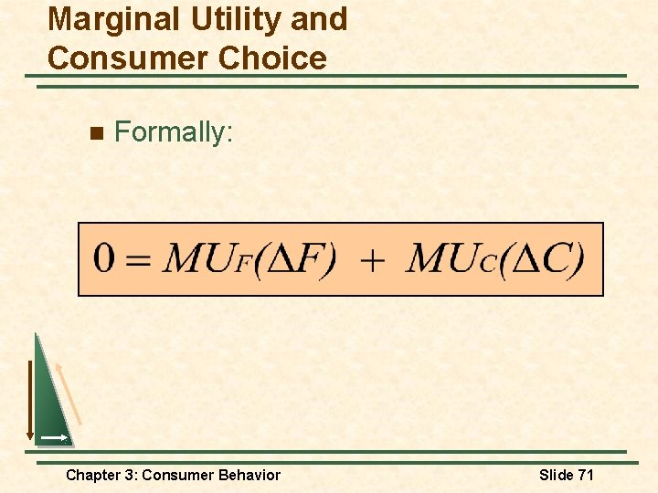 Marginal Utility and Consumer Choice n Formally: Chapter 3: Consumer Behavior Slide 71