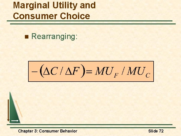 Marginal Utility and Consumer Choice n Rearranging: Chapter 3: Consumer Behavior Slide 72