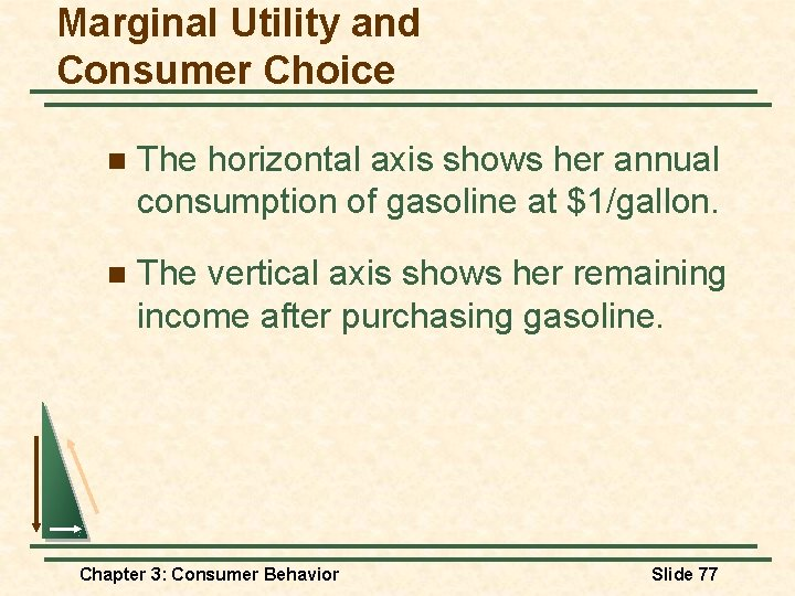 Marginal Utility and Consumer Choice n The horizontal axis shows her annual consumption of