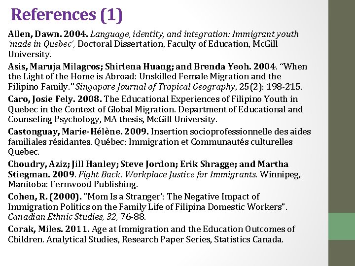 References (1) Allen, Dawn. 2004. Language, identity, and integration: Immigrant youth 'made in Quebec',
