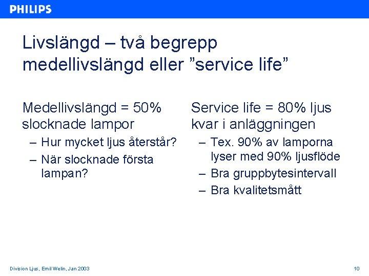 """Livslängd – två begrepp medellivslängd eller """"service life"""" Medellivslängd = 50% slocknade lampor –"""