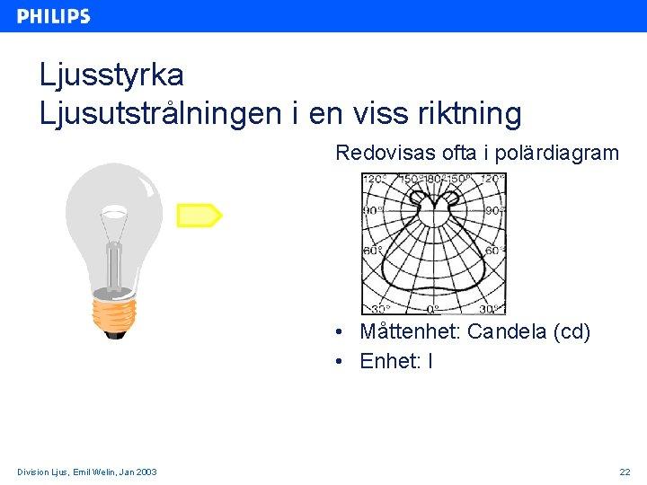 Ljusstyrka Ljusutstrålningen i en viss riktning Redovisas ofta i polärdiagram • Måttenhet: Candela (cd)