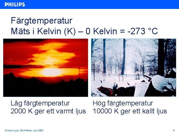 Färgtemperatur Mäts i Kelvin (K) – 0 Kelvin = -273 °C Låg färgtemperatur Hög