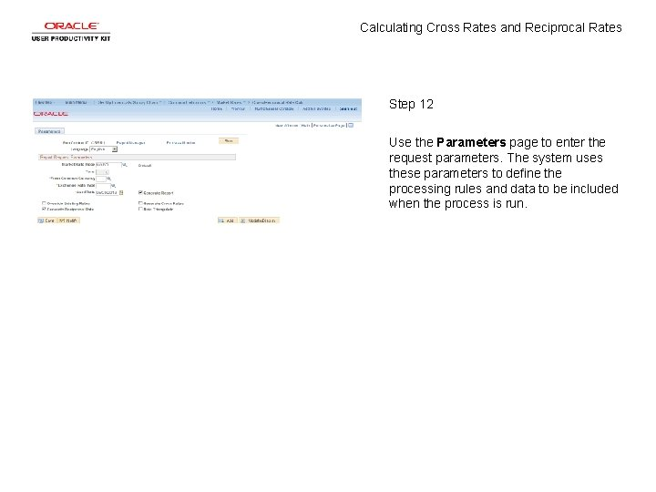 Calculating Cross Rates and Reciprocal Rates Step 12 Use the Parameters page to enter