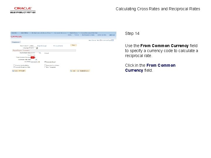 Calculating Cross Rates and Reciprocal Rates Step 14 Use the From Common Currency field