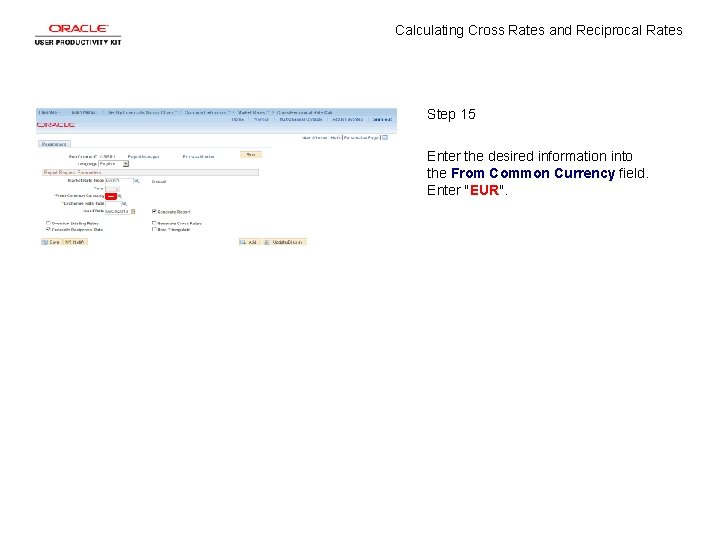 Calculating Cross Rates and Reciprocal Rates Step 15 Enter the desired information into the