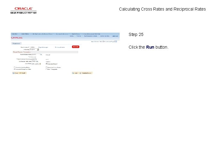 Calculating Cross Rates and Reciprocal Rates Step 25 Click the Run button.