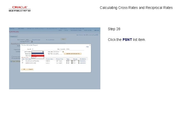Calculating Cross Rates and Reciprocal Rates Step 28 Click the PSNT list item.