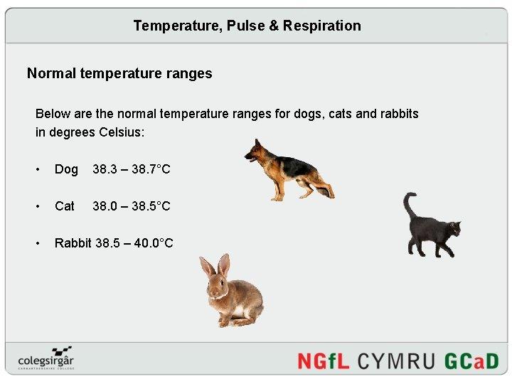 Temperature, Pulse & Respiration Normal temperature ranges Below are the normal temperature ranges for