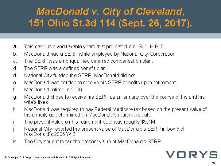 Mac. Donald v. City of Cleveland, 151 Ohio St. 3 d 114 (Sept. 26,