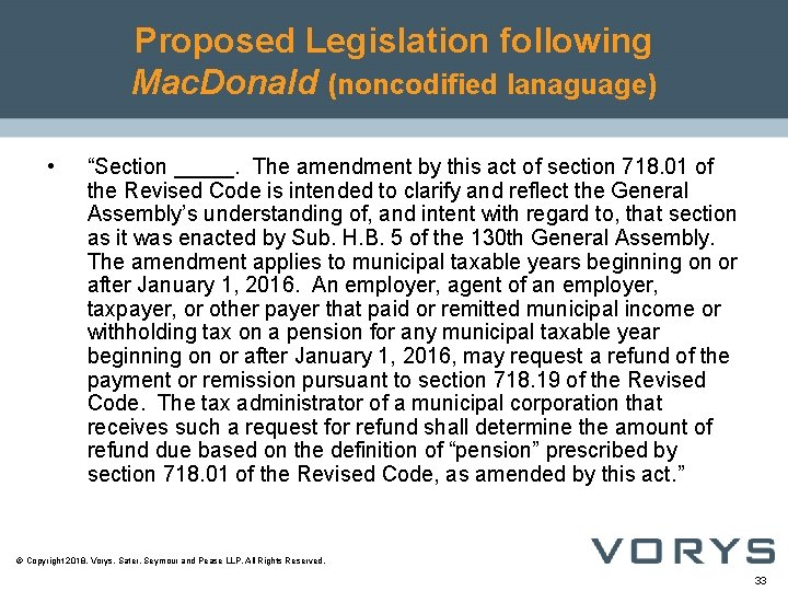 """Proposed Legislation following Mac. Donald (noncodified lanaguage) • """"Section _____. The amendment by this"""