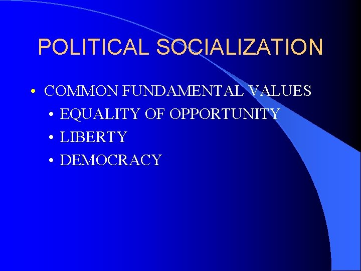 POLITICAL SOCIALIZATION • COMMON FUNDAMENTAL VALUES • EQUALITY OF OPPORTUNITY • LIBERTY • DEMOCRACY