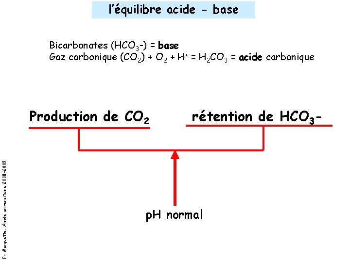 l'équilibre acide - base Bicarbonates (HCO 3 -) = base Gaz carbonique (CO 2)
