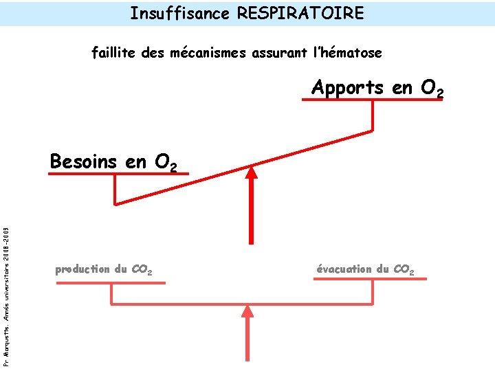 Insuffisance RESPIRATOIRE faillite des mécanismes assurant l'hématose Apports en O 2 Pr Marquette. Année