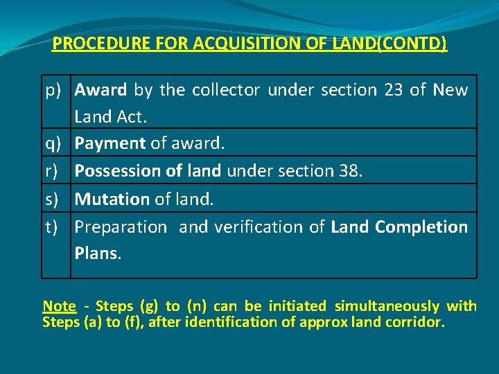 PROCEDURE FOR ACQUISITION OF LAND(CONTD) p) Award by the collector under section 23 of
