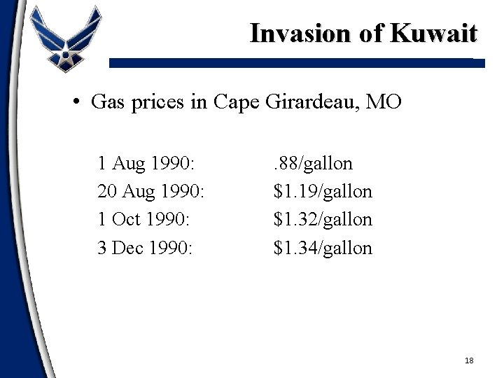 Invasion of Kuwait • Gas prices in Cape Girardeau, MO 1 Aug 1990: 20