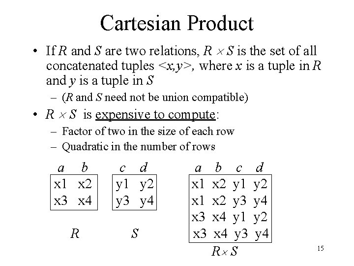 Cartesian Product • If R and S are two relations, R S is the