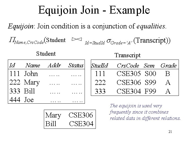 Equijoin Join - Example Equijoin: Equijoin Join condition is a conjunction of equalities. Name,