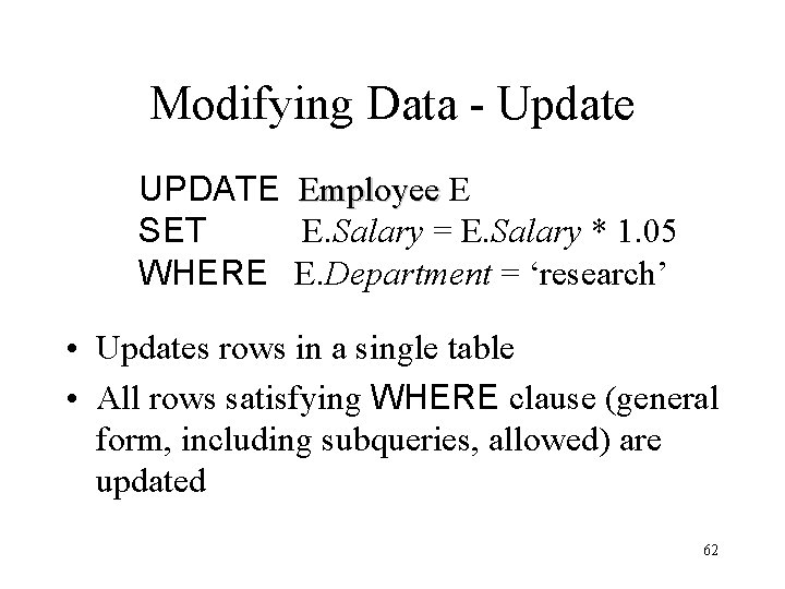 Modifying Data - Update UPDATE SET WHERE Employee E E. Salary = E. Salary