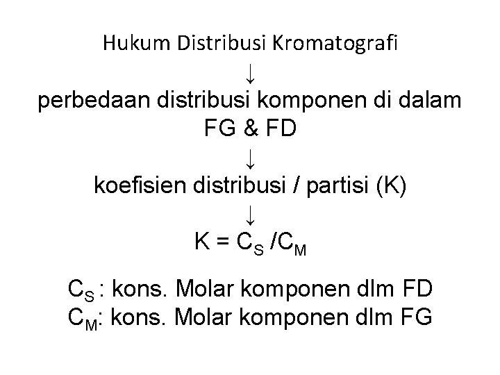 Hukum Distribusi Kromatografi ↓ perbedaan distribusi komponen di dalam FG & FD ↓ koefisien