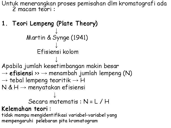 Untuk menerangkan proses pemisahan dlm kromatografi ada 2 macam teori : 1. Teori Lempeng