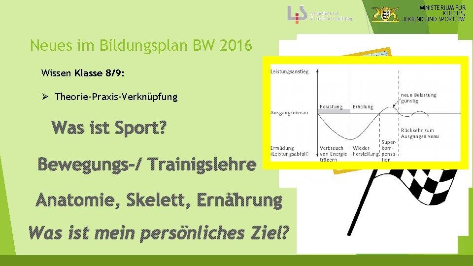 MINISTERIUM FÜR KULTUS, JUGEND UND SPORT BW Neues im Bildungsplan BW 2016 Wissen Klasse