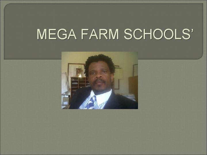MEGA FARM SCHOOLS'