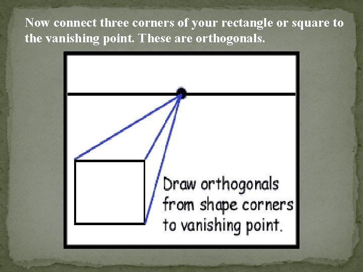 Now connect three corners of your rectangle or square to the vanishing point. These