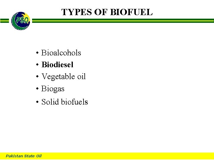 TYPES OF BIOFUEL B • Bioalcohols • Biodiesel • Vegetable oil • Biogas •