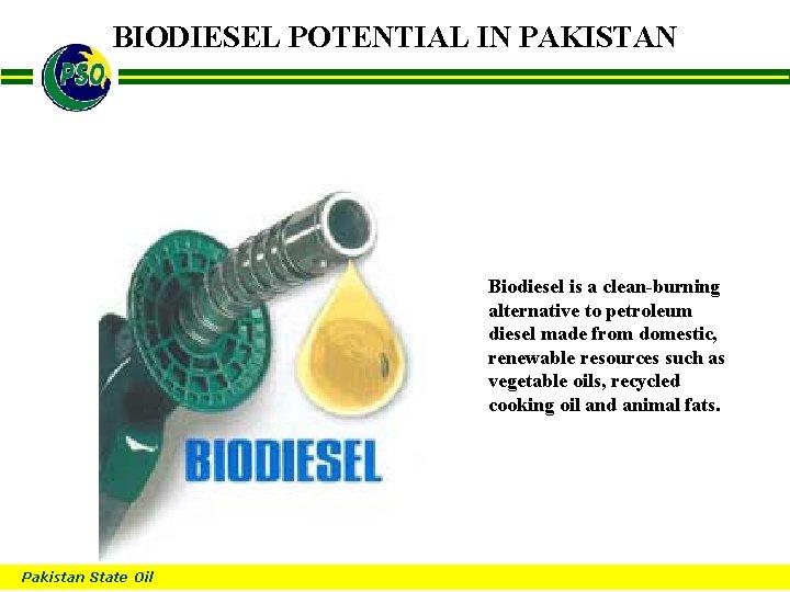 BIODIESEL POTENTIAL IN PAKISTAN B Biodiesel is a clean-burning alternative to petroleum diesel made