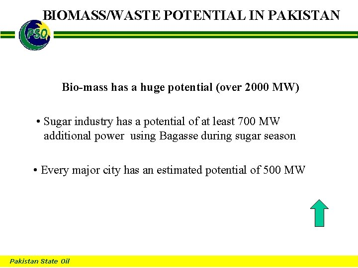 BIOMASS/WASTE POTENTIAL IN PAKISTAN B Bio-mass has a huge potential (over 2000 MW) •