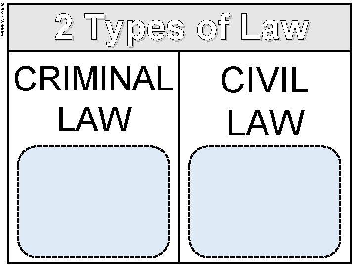 © Brain Wrinkles 2 Types of Law CRIMINAL CIVIL LAW