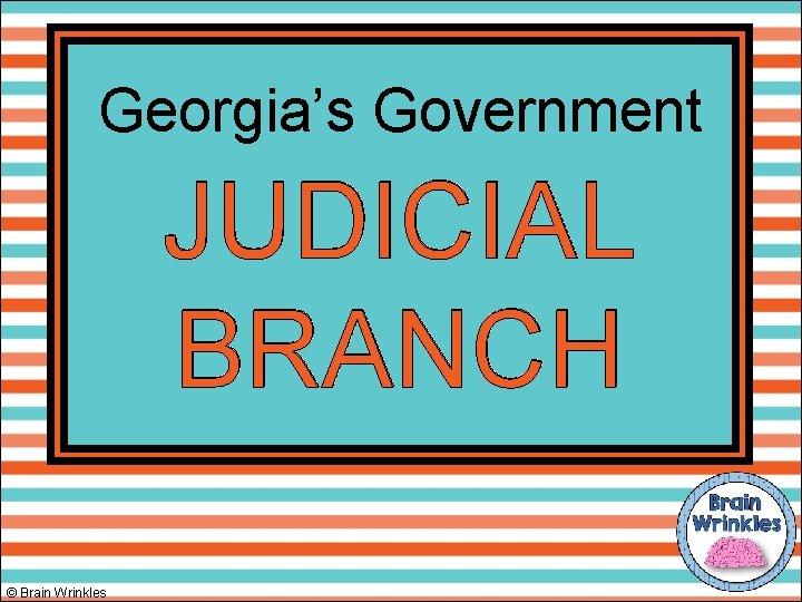 Georgia's Government JUDICIAL BRANCH © Brain Wrinkles
