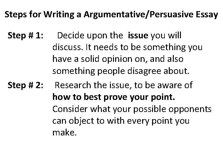 steps to write a persuasive essay
