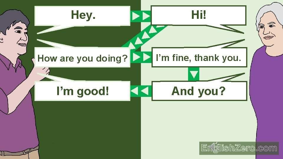 Hey. Hi! How are you doing? I'm fine, thank you. I'm good! And you?