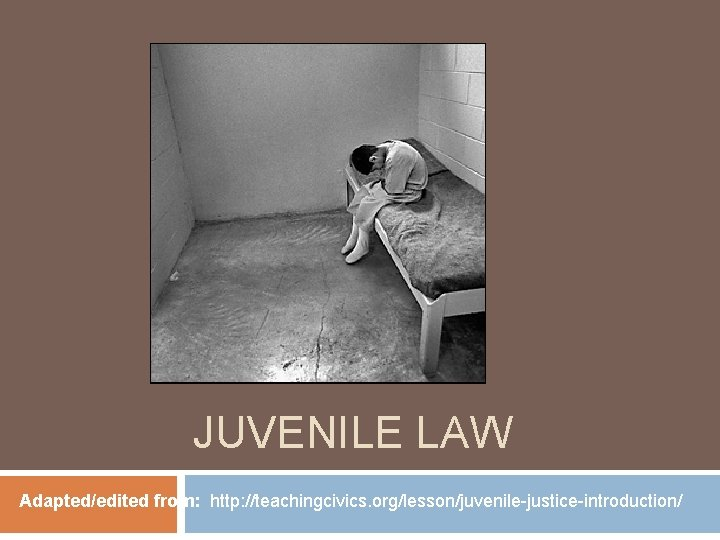 JUVENILE LAW Adapted/edited from: http: //teachingcivics. org/lesson/juvenile-justice-introduction/