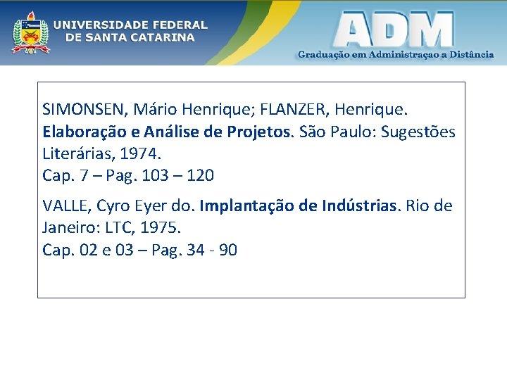 SIMONSEN, Mário Henrique; FLANZER, Henrique. Elaboração e Análise de Projetos. São Paulo: Sugestões Literárias,