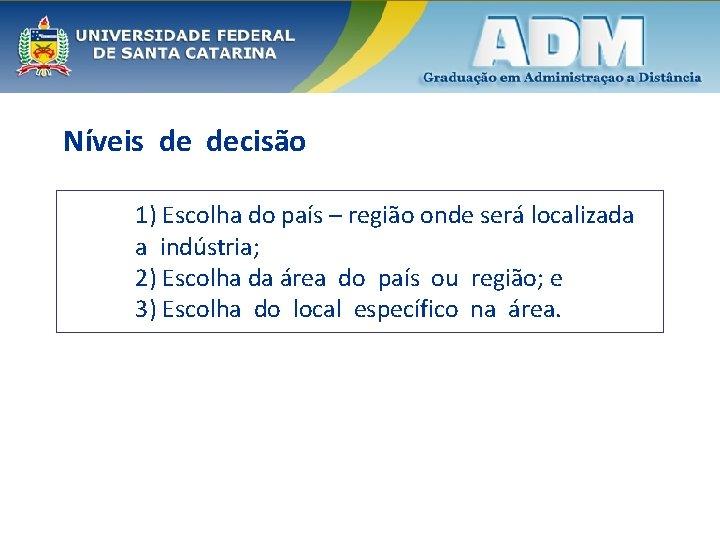 Níveis de decisão 1) Escolha do país – região onde será localizada a indústria;