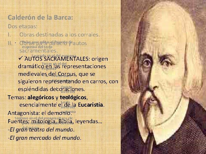 Calderón de la Barca: Dos etapas: I. Obras destinadas a los corrales. Pulse para