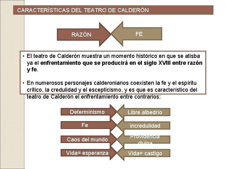 CARACTERÍSTICAS DEL TEATRO DE CALDERÓN RAZÓN FE • El teatro de Calderón muestra