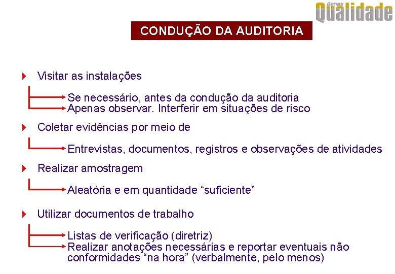 CONDUÇÃO DA AUDITORIA 4 Visitar as instalações Se necessário, antes da condução da auditoria