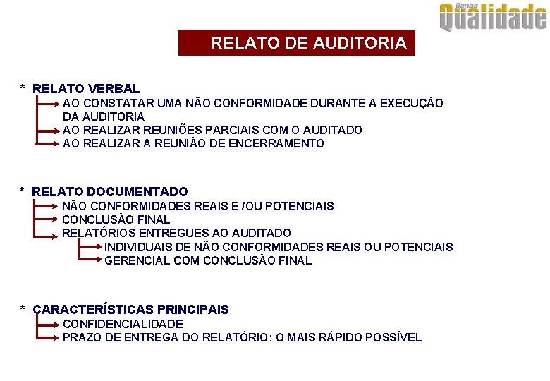 RELATO DE AUDITORIA * RELATO VERBAL AO CONSTATAR UMA NÃO CONFORMIDADE DURANTE A EXECUÇÃO
